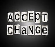 Accept change concept. 3d Illustration depicting a set of cut out printed letters arranged to form the words accept change Royalty Free Stock Images