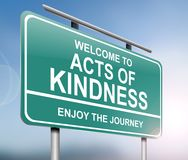 Acts of kindness concept. 3d Illustration depicting a sign with an acts of kindness message concept Stock Photography
