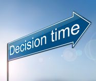 Decision time concept. 3d Illustration depicting a sign with a decision time concept royalty free illustration