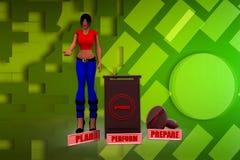 3D Illustration der Frau 3Ps Lizenzfreie Stockfotos