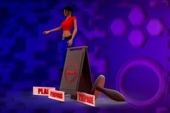 3D Illustration der Frau 3Ps Stockbild