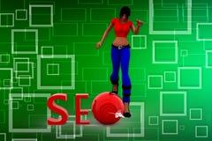 3D Illustration der Frau SEO Stockbild