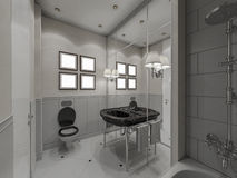 3D illustration of design of a bathroom in classical style Royalty Free Stock Photography
