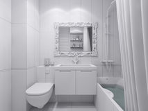 3d illustration of a design bathroom. Interior in classic style Royalty Free Stock Photo