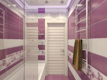 3D illustration of design of a bathroom in violet color with orc Stock Photography