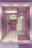3D illustration of design of a bathroom in violet color with orc Royalty Free Stock Photo