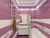 3D illustration of design of a bathroom in violet color with orc Royalty Free Stock Photos