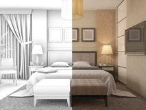 3D illustration of design of a bedroom in color and without textures or materials Royalty Free Stock Photo