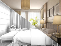 3D illustration of design of a bedroom in color and without textures or materials Royalty Free Stock Images