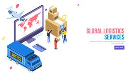 3D illustration of desktop with delivery truck ans aeroplan, man. Manage the cargo boxes with credit or debit for online payment concept. Global Logistics stock illustration