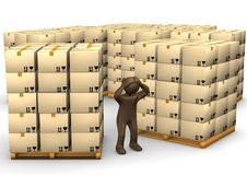 3D Illustration, desperate brown figurine, packages on pallets, Royalty Free Stock Photography