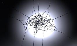 3D illustration of destructed or shattered glass surface over black background.  Stock Images