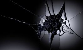 3D illustration of destructed or shattered glass surface over black background.  Royalty Free Stock Images