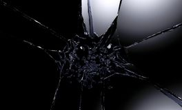 3D illustration of destructed or shattered glass surface over black background.  Royalty Free Stock Photography