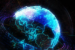 3d illustration of detailed virtual planet Earth. Royalty Free Stock Photography