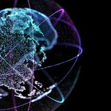 3d illustration of detailed virtual planet Earth. Technological digital globe world. 3d illustration of detailed virtual planet Earth. Technological digital royalty free stock image