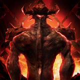 3D illustration of a devil back art. Artwork of a muscle built hell monster back with horns, fire elements, armor and spikes on flame inferno background Royalty Free Stock Photography