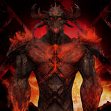 3D illustration of a devil torso art. Artwork of a muscle built hell monster with horns, fire elements, armor and spikes on flame inferno background Stock Photos