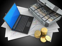 3d coins. 3d illustration of diagram papers and black laptop over black background with case Royalty Free Stock Photo