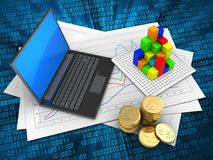 3d graph. 3d illustration of diagram papers and black laptop over digital background with graph Stock Photography