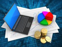 3d black laptop. 3d illustration of diagram papers and black laptop over digital background with pie chart Stock Photography