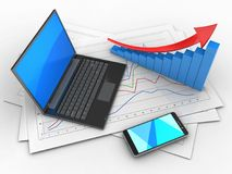 3d smartphone. 3d illustration of diagram papers and black laptop over white background with arrow graph Stock Images