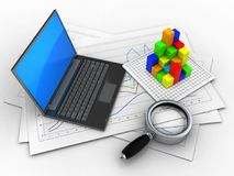 3d graph. 3d illustration of diagram papers and black laptop over white background with graph Stock Photography