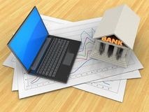 3d black laptop. 3d illustration of diagram papers and black laptop over wood table background with bank Stock Photos