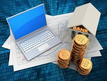 3d golden coins. 3d illustration of diagram papers and computer over digital background with bank Stock Images