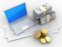 3d computer. 3d illustration of diagram papers and computer over white background with money stock illustration