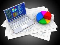 3d pie chart. 3d illustration of diagram papers and pc over black background with pie chart Stock Photos
