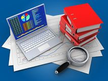 3d pc. 3d illustration of diagram papers and pc over blue background with binder folders Royalty Free Stock Photo