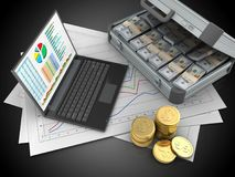 3d coins. 3d illustration of diagram papers and personal computer over black background with case Stock Images