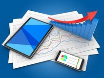 3d arrow graph. 3d illustration of diagram papers and tablet computer over blue background with arrow graph Royalty Free Stock Images
