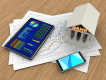 3d tablet. 3d illustration of diagram papers and tablet over wood background with bank Royalty Free Stock Photography
