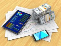 3d tablet. 3d illustration of diagram papers and tablet over wood table background with money Stock Photo