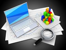 3d diagram papers. 3d illustration of diagram papers and white laptop over black background with graph Stock Photos