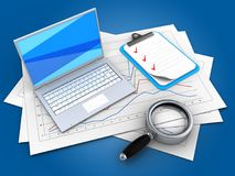 3d magnify glass. 3d illustration of diagram papers and white laptop over blue background with clipboard Stock Images
