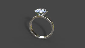 3D illustration of diamond ring. Diamond ring 3D illustration on a black background with a shadow Royalty Free Stock Photos