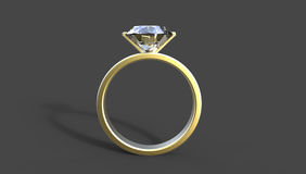 3D illustration of  a  diamond ring. 3D illustration of a diamond ring in gold on a black background Royalty Free Stock Images