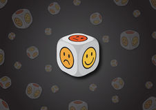 A 3D illustration of a dice with emotion symbols Royalty Free Stock Photos