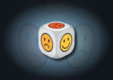 A 3D illustration of a dice with emotion symbols. On each face of the dice are illustrated symbols representing different emotional states stock illustration