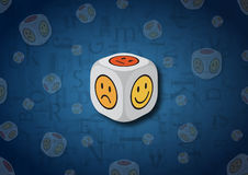 A 3D illustration of a dice with emotion symbols. On each face of the dice are illustrated symbols representing different emotional states royalty free illustration