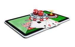 3d Illustration of dice, poker playing cards and chips, on the tablet. 3d Illustration of dice, poker playing cards and chips. on the tablet vector illustration