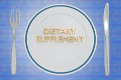 Dietary Supplement concept. 3D illustration of DIETARY SUPPLEMENT title on a white plate, along with silver knif and fork, on a pale blue background Stock Images