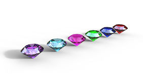 3d illustration of  different gem stones Stock Photo