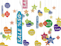 3d illustration of different sale tags on hook. Isolated on white Stock Photo