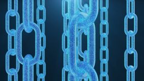 3D illustration digital blockchain code. Chain links network. Blue background. Concept of Network, cryptocurrencies