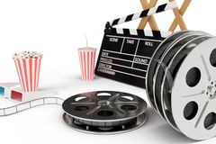 3D illustration, director chair, movie clapper, popcorn, 3d glasses, film strip, film reel and cup with carbonated drink. Isolated on white background. Cinema stock illustration