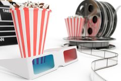 3D illustration, director chair, movie clapper, popcorn, 3d glasses, film strip, film reel and cup with carbonated drink royalty free illustration